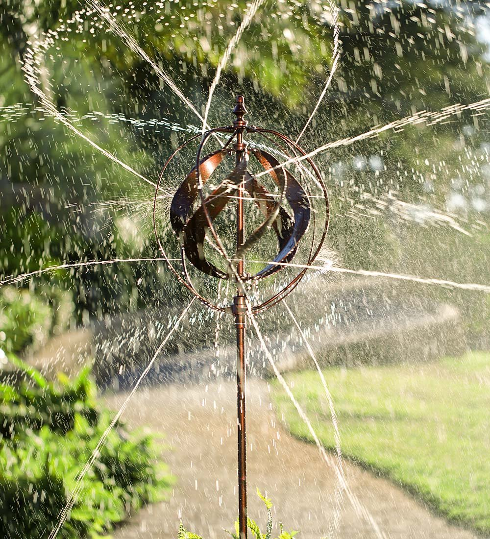 Outdoor Hydro-Ball Garden Wind Spinner Sculpture with Water Feature