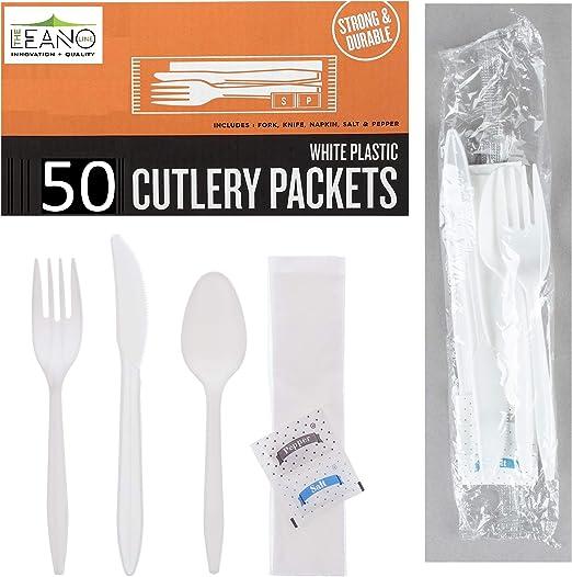 50 paquetes de cubiertos de plástico – Juego de servilletas de tenedor de cuchillos y cucharas de