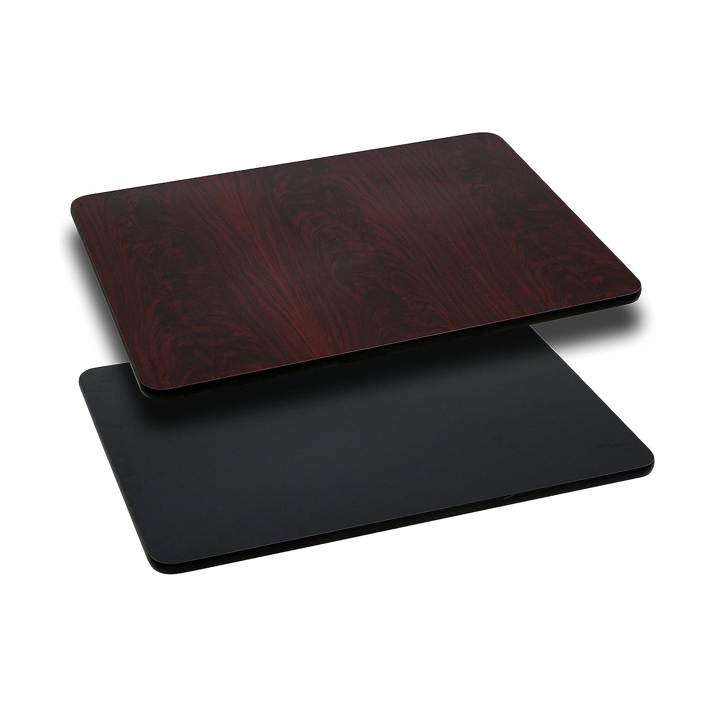 Flash Furniture 30'' x 48'' Rectangular Table Top with Black or Mahogany Reversible Laminate Top