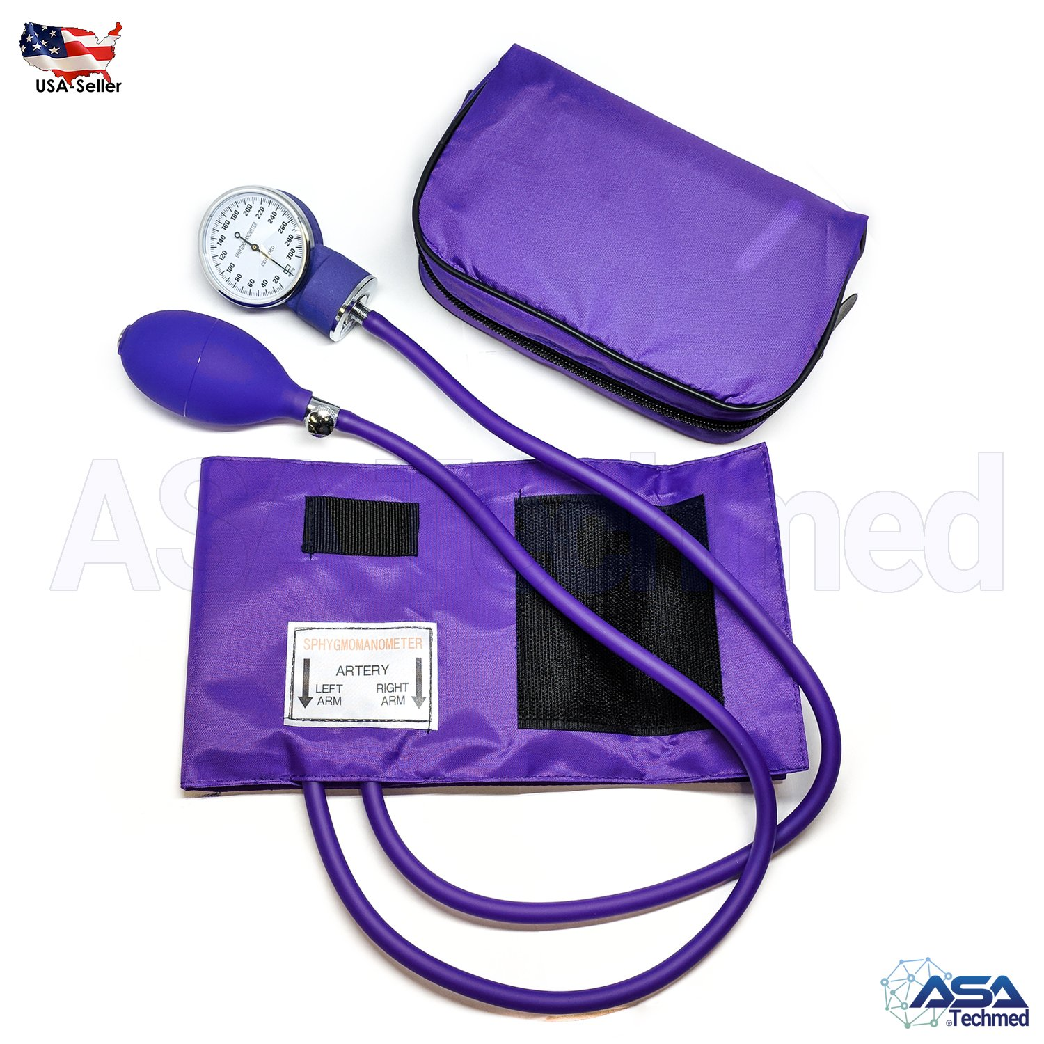ASATechmed Nurse/EMT Starter Pack Stethoscope, Blood Pressure Monitor and Free Trauma 7.5'' EMT Shear Ideal Gift for Nurse, EMT, Medical Students, Firefighter, Police and Personal Use (Purple) by ASATechmed (Image #2)