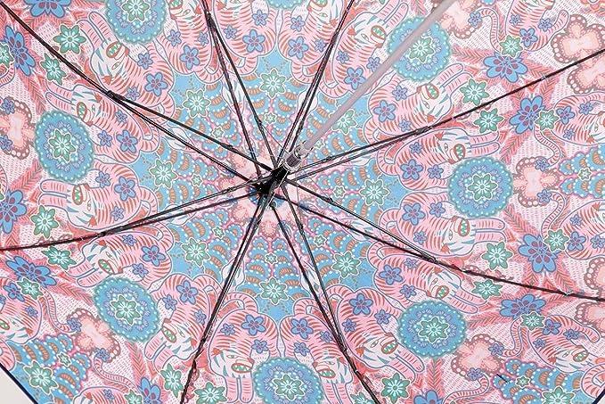 Catalina Estrada for EZPELETA Paraguas Largo de Mujer, antiviento y automático. Estampado Flores y Animales - Azul: Amazon.es: Equipaje