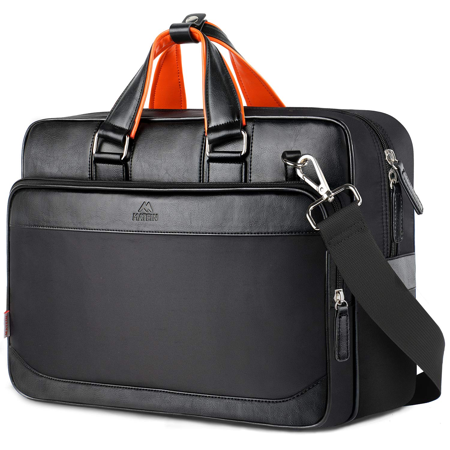 MATEIN Laptop Briefcase Bag, Extra Large Leather Business Travel Messenger Computer Bags for Men and Women Fits 17 Inch Laptop Notebook - Black