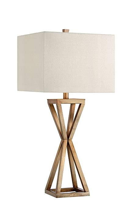 Catalina 19744-000 Contemporary Open Caged Metal Table Lamp with Natural Linen Rectangular Shade, Gold