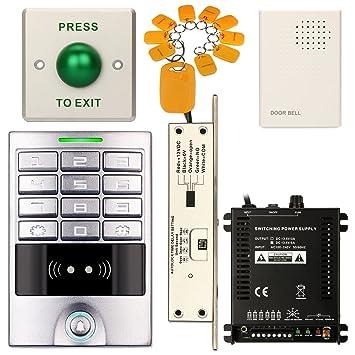 Control de acceso teclado impermeable para oficina RFID Código de entrada sistema Home Kit + eléctrica