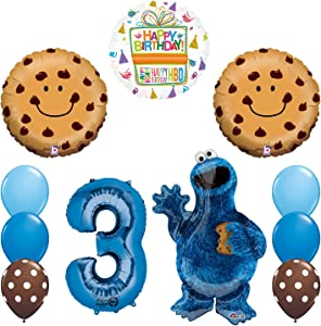 Mayflower Sesame Street Cookie Monsters 3rd Birthday Party Supplies and Balloon Decorations