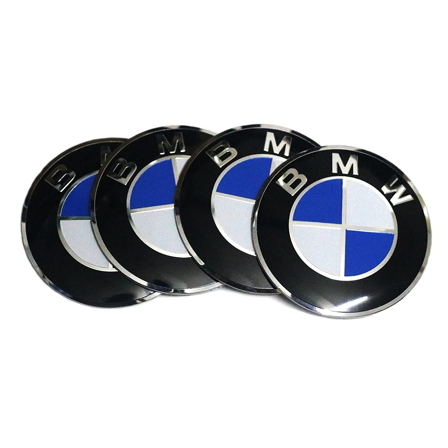 4X 56MM / 2.2' Aluminum Wheel Center Hub Cap Emblem Stickers Badges for BMW 3 4 5 6 7 X Series Stream