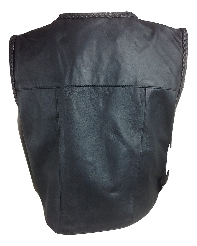 Kids 100/% Genuine Real Soft Leather Braided Edge Black Motorcycle Biker Waistcoat Vest Full Geniune Leather Motorcycle Bodywarmer Gilet Boys Girls Childrens