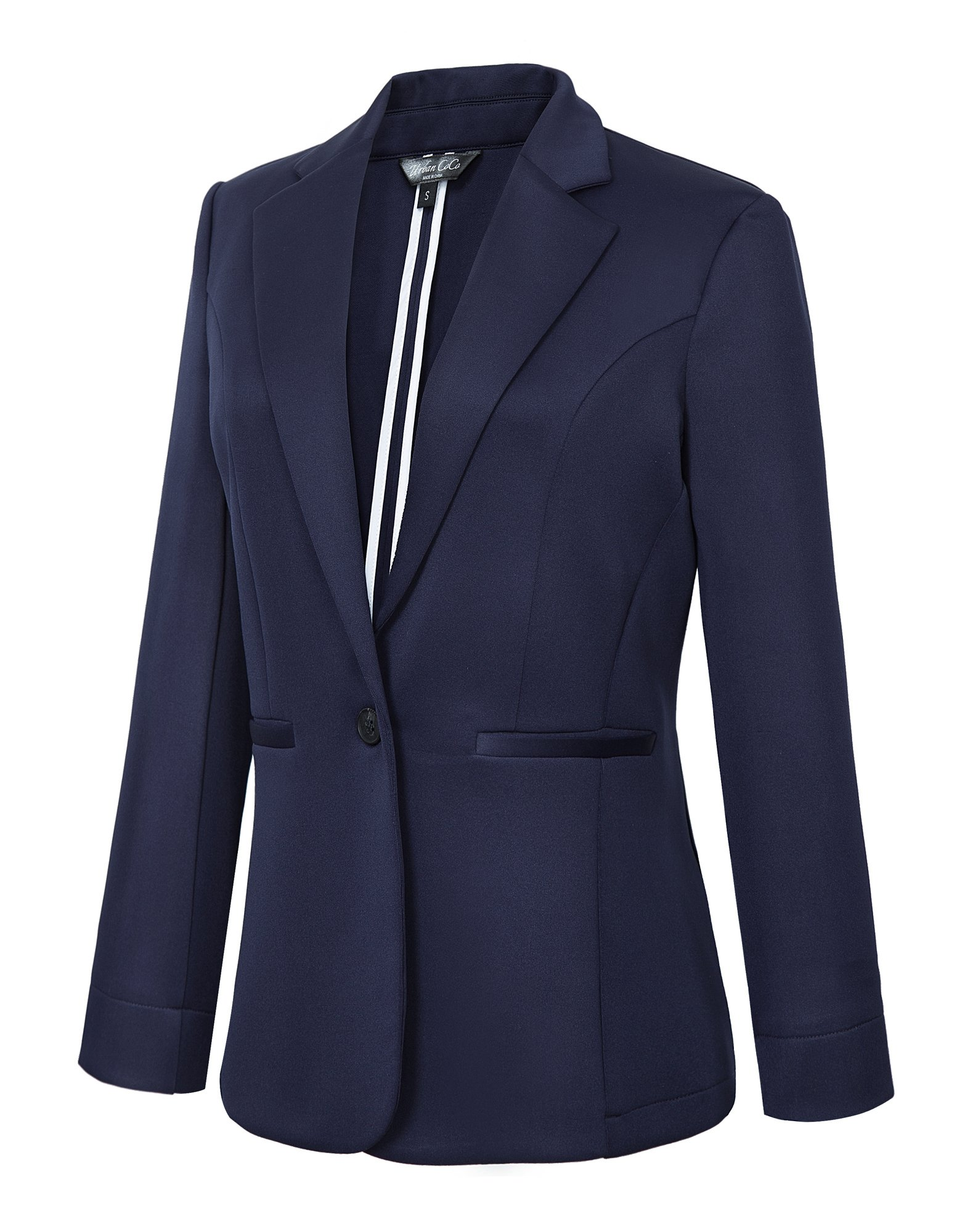 Women's Casual One Button Office Blazer Jacket (L, Navy Blue)