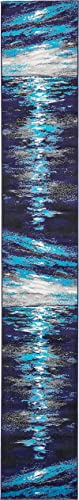 Unique Loom Metro Collection Abstract Water Modern Waves Navy Blue Runner Rug 2 0 x 13 0