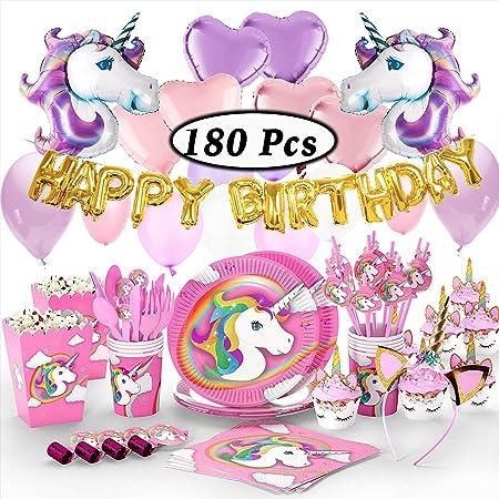 Suministros de fiesta de unicornio, paquete de cumpleaños ...