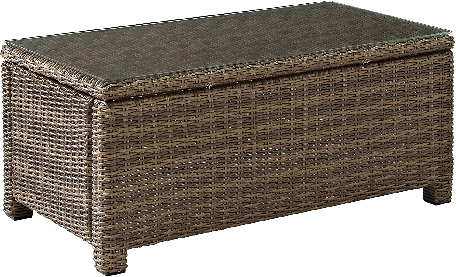 Crosley Furniture CO7208-WB Bradenton Outdoor Wicker Rectangular Tempered Glass Top Coffee Table, Brown
