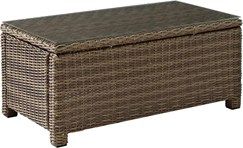 Crosley Furniture Bradenton Outdoor Wicker Conversation Table with Glass Top – Weathered Brown