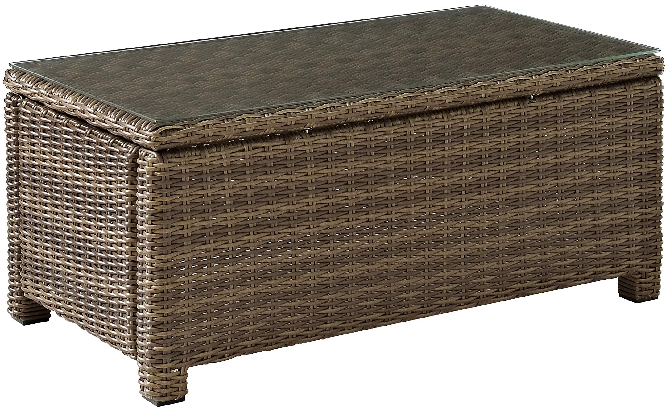 Crosley Furniture Bradenton Outdoor Wicker Conversation Table with Glass Top - Weathered Brown