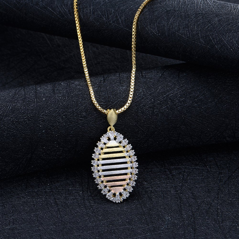 Mytys Tri Tone Gold Necklace for Women Cubic Zirconia Triple Gold Pendant Necklace Silver Gold Rose Gold Butterfly//Leaf//Flower//Stripe