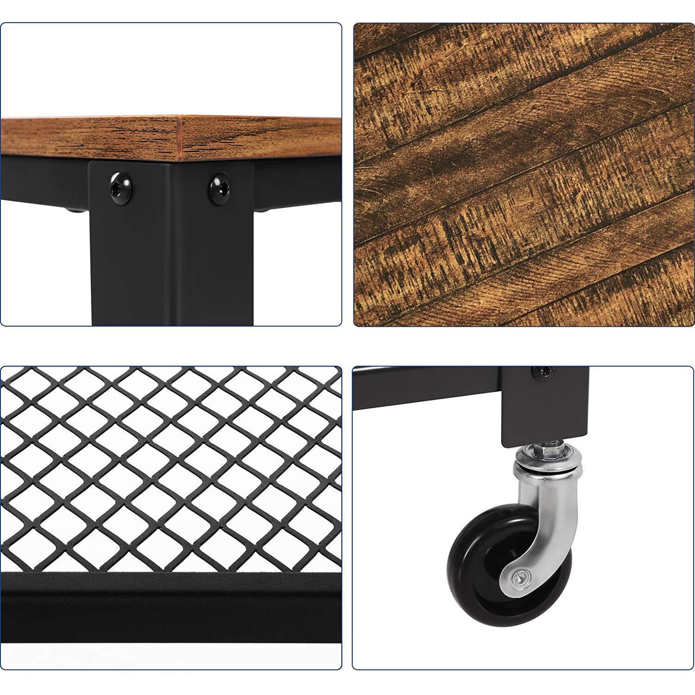 K/üchenwagen Retro f/ür K/üche und Wohnzimmer Lirontas Servierwagen 3 Ebenen Beistellwagen mit Rollen Nachttisch Holzoptik und Metallgestell einfach zu montieren