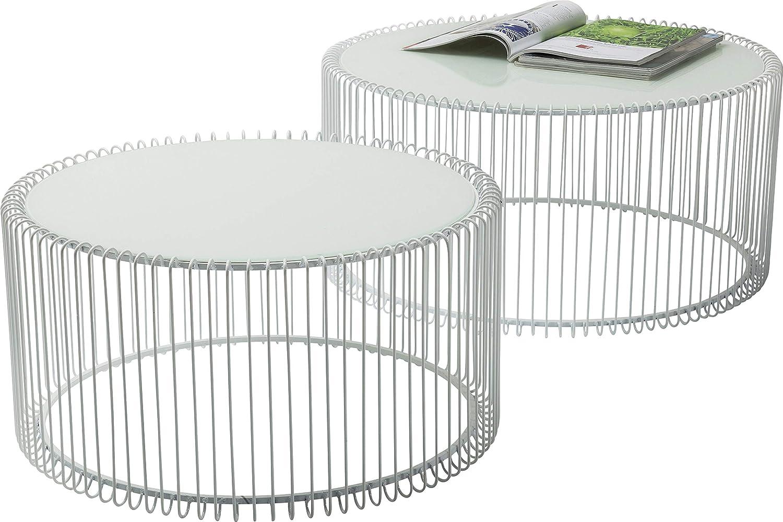Kare Design Couchtisch Wire White 2er Set, runder, moderner ...