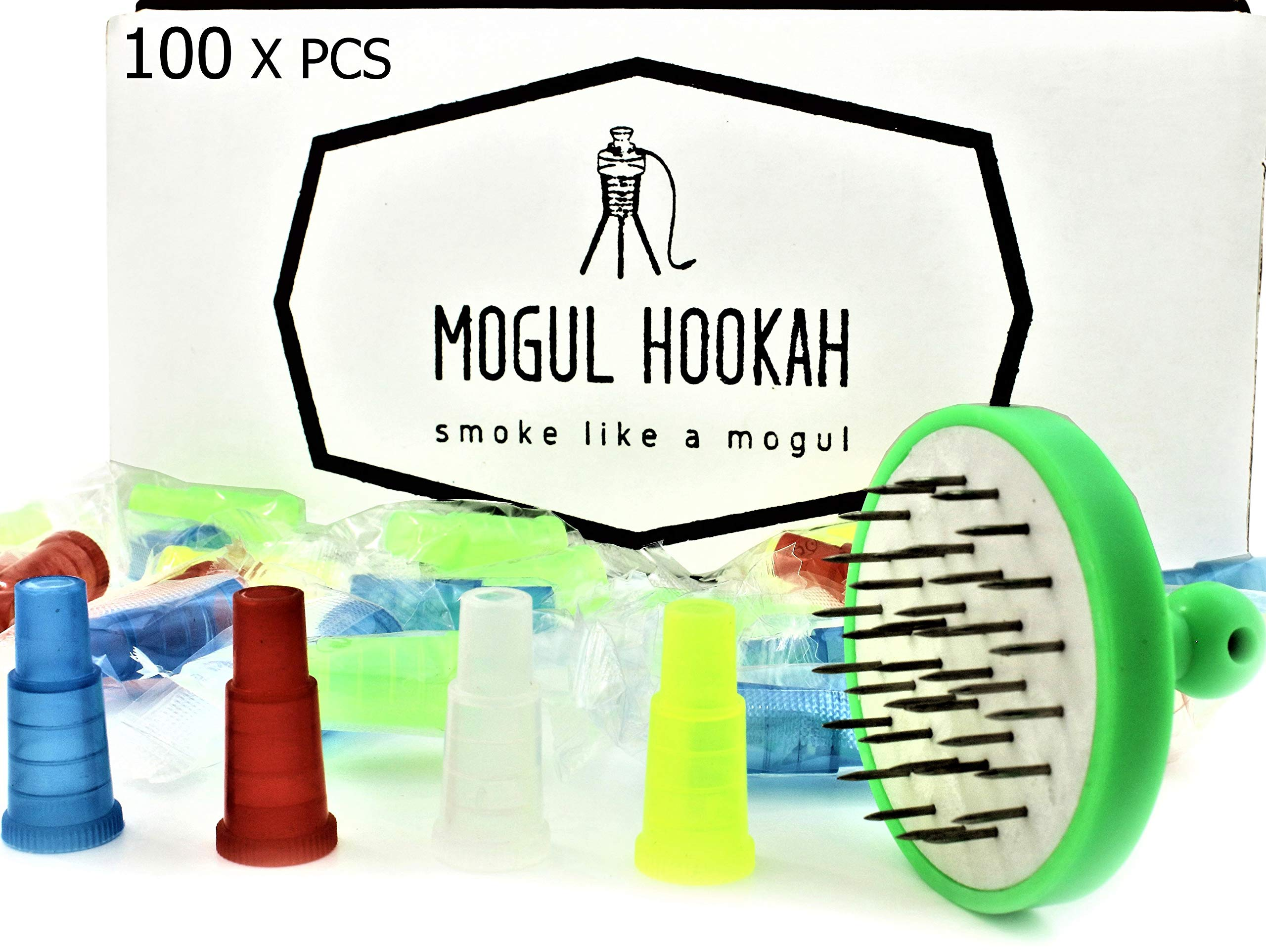 Hookah Tips Shisha Accessories Mouthpiece tip | Nargila Foil Puncher | Foil Hole Poker | Disposable Hookah Hose Adapter Tips | Hookah Hoses Supplies Mouth Pieces Plastic Female Tips (100) by MOGUL HOOKAH