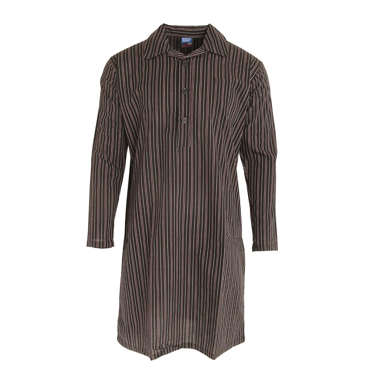 Harvey James Mens Striped Long Sleeve Nightshirt