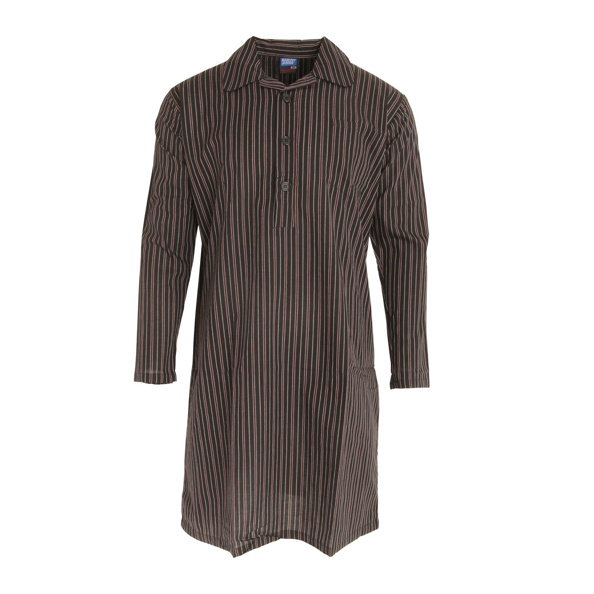 harvey james Mens Striped Long Sleeve Nightshirt (M) (Stripe Design)