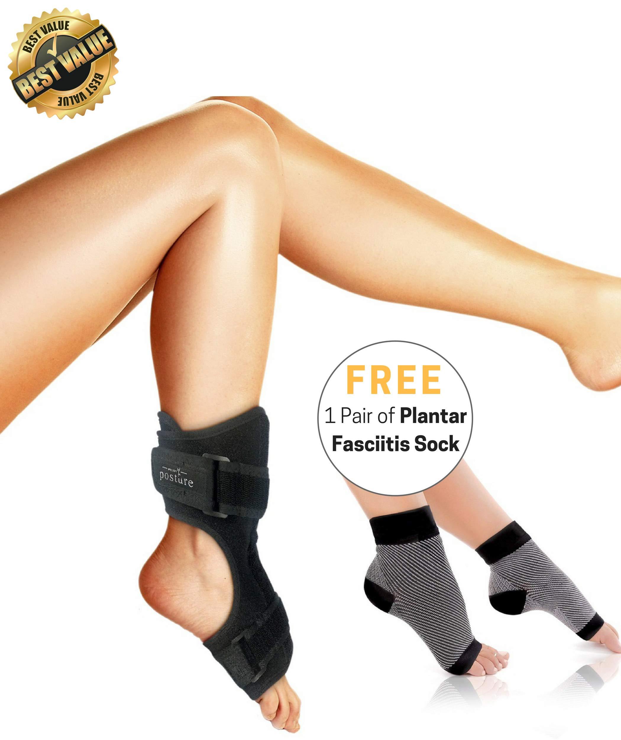 Vriksasana Plantar Fasciitis Dorsal Night Splint for Men & Women | Treatment for Heel Pain, Drop Foot and Achilles Tendonitis | Bonus Compression Socks/Foot Sleeves with Arch Support (S/M)