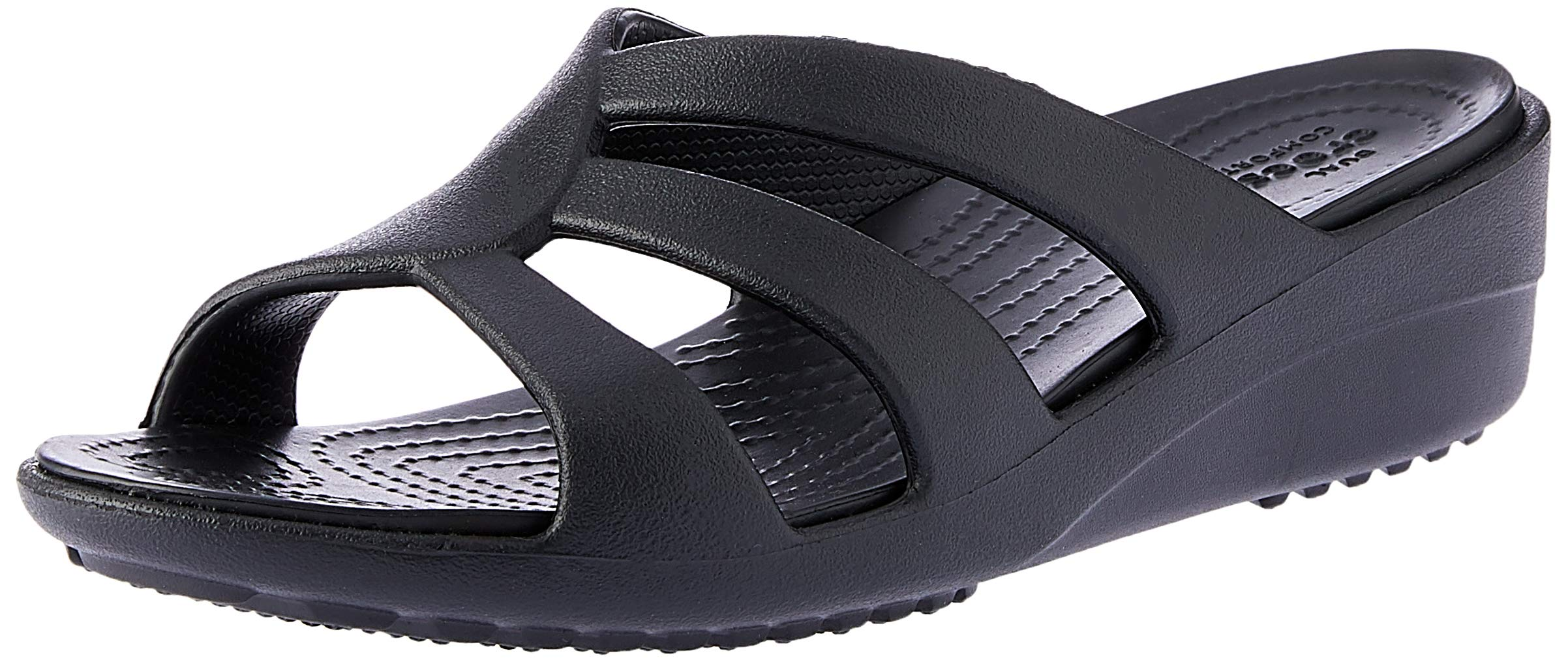crocs Women's Sanrah Strappy Wedge Sandal, Black, 8 M US by Crocs
