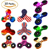 Fidget Spinner 10 Pack, EDC Hand Tri-Spinner Fidget Stress Relief Toys for Adults and Kids, All-in-one Design 2-3 Min Spins,Relieves your ADD ADHD Autism (10 Pack Mix)