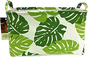 HUNRUNG Rectangle Storage Basket Cute Canvas Organizer Bin for Pet/Kids Toys, Books, Clothes Perfect for Kid Rooms/Playroom/Shelves (Leaf)