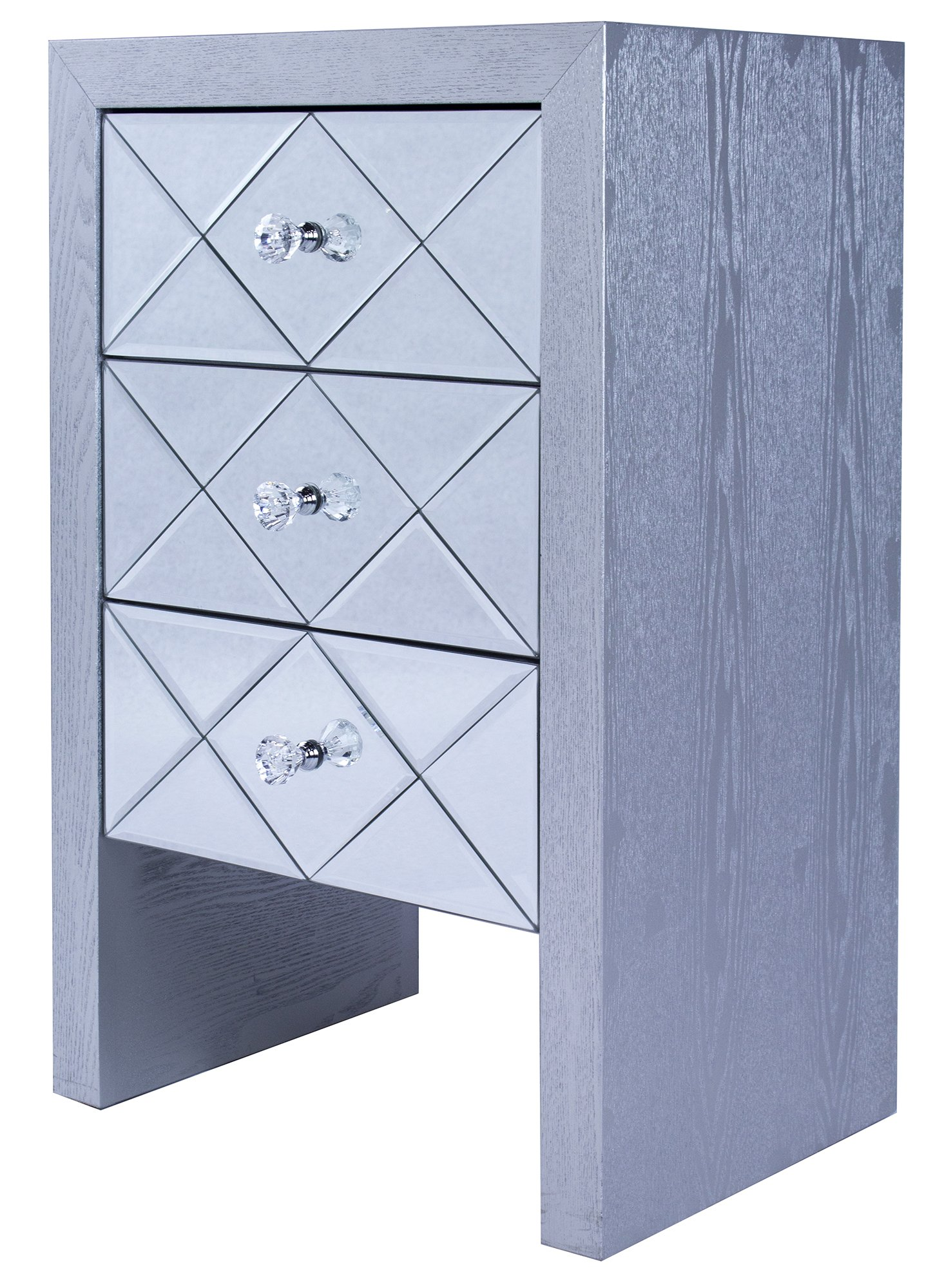 Heather Ann Creations Wooden 3 Drawer Chest/Console with Front Beveled Mirrored and Accent Finish, 28'' x 17.7'', Silver