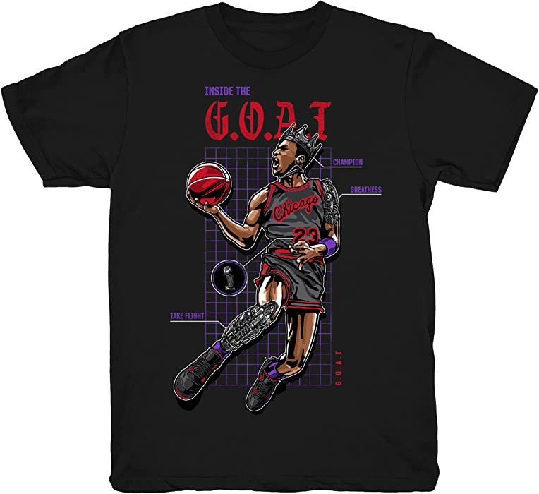 467d61fb355047 Raptors 4 The Goat Shirts Match Jordan 4 Raptors Sneakers Black t-Shirts ( Small