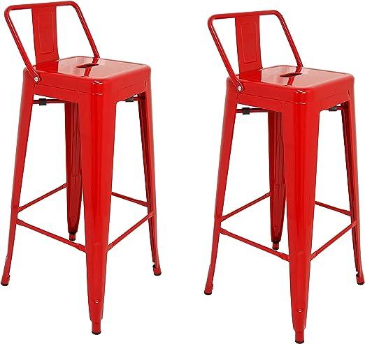 La Silla Española - Pack 2 Taburetes estilo Tolix con respaldo. Color Rojo. Medidas 95x44,5x44,5: Amazon.es: Hogar