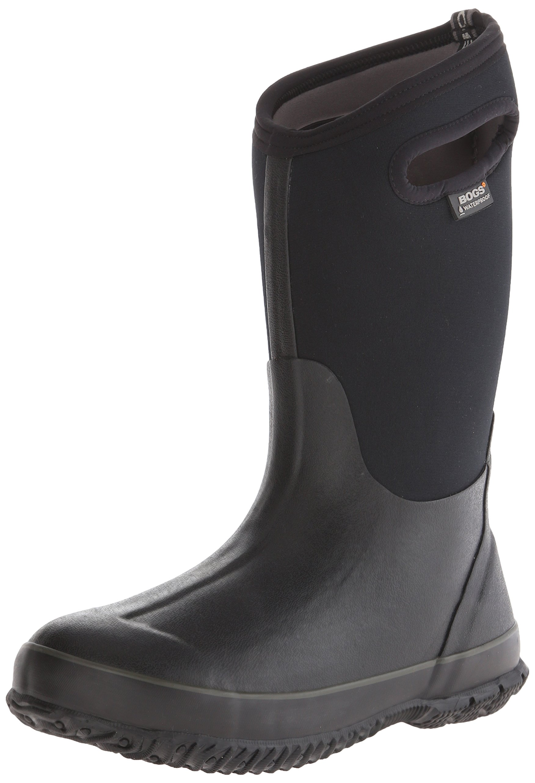 Bogs Kid's Classic High Waterproof Insulated Rubber Neoprene Rain Boot, Black, 7 M US Toddler