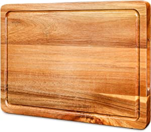 Cutting Board, Wood Chopping Boards for Kitchen with Deep Juice Groove Organic Acacia, Butcher Block for Meat and Vegetable, Wooden Serving Board with Grip Handles BPA Free - Medium