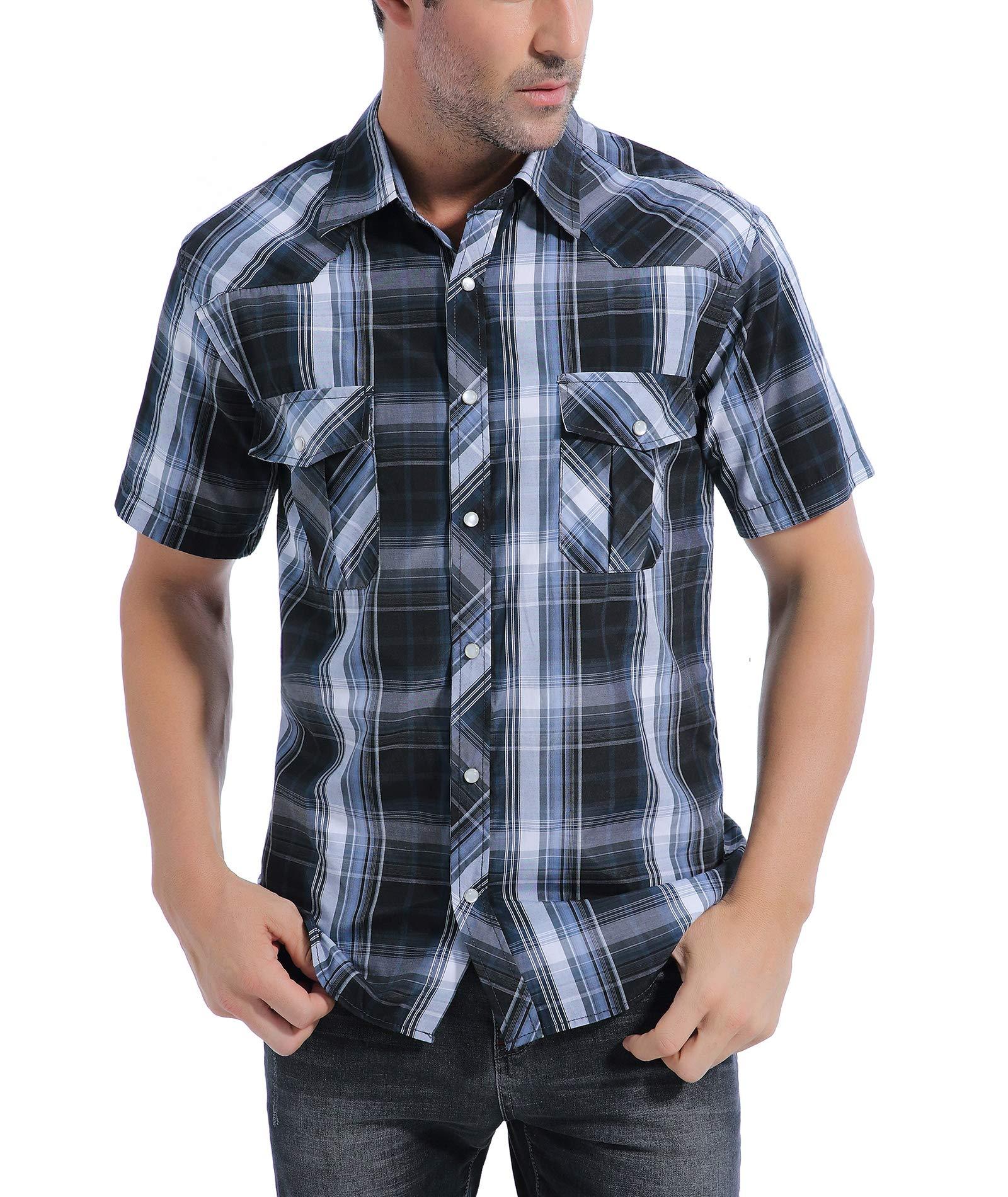 34cdf5e1c21 Coevals Club Men's Short Sleeve Casual Western Plaid Snap Buttons Shirt