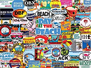 White Mountain A Day at The Beach 1000 Piece Collage Jigsaw Puzzle