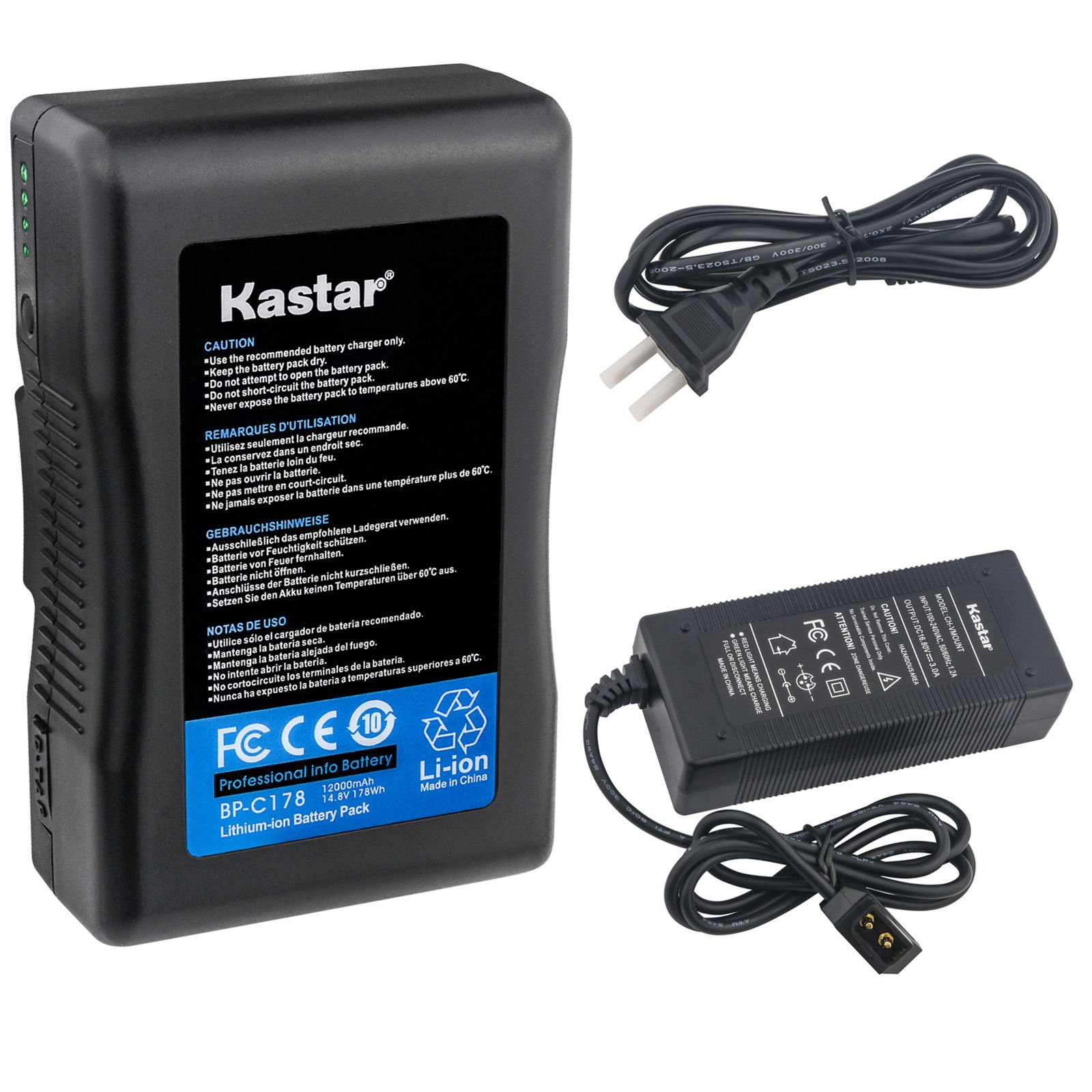 Kastar Charger and BP-C178 Broadcast Battery Brick 14.8V 12000mAh 178Wh for Anton Bauer Digital 90 Gold Mount, ARRI Alexa Minicamera, AJA CION Camera Body, Blackmagic Design URSA, Cine Alta Camera