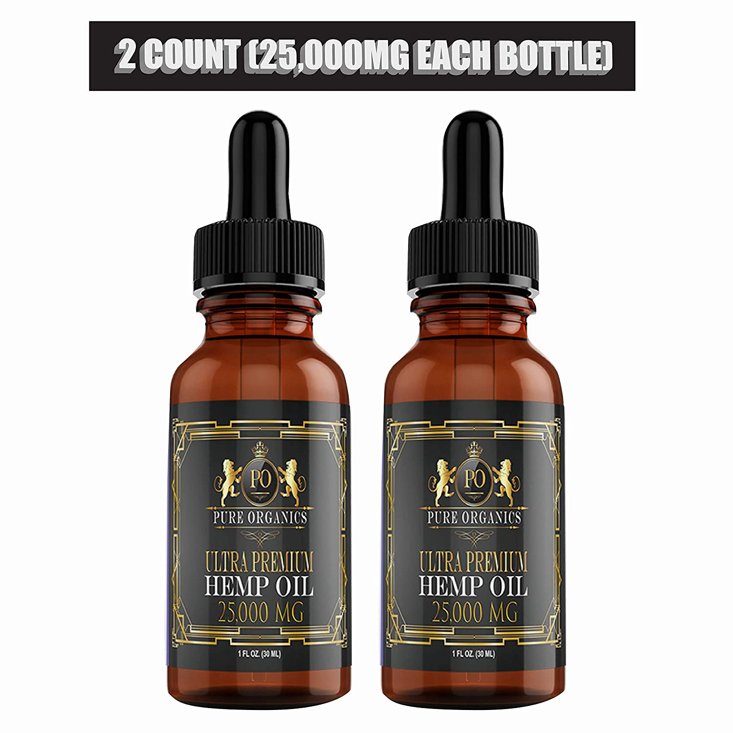 (2 Pack :: 25,000mg Each) Hemp Oil for Pain Relief Anxiety Relief Sleep Support :: Organic - Hemp Extract Supplement