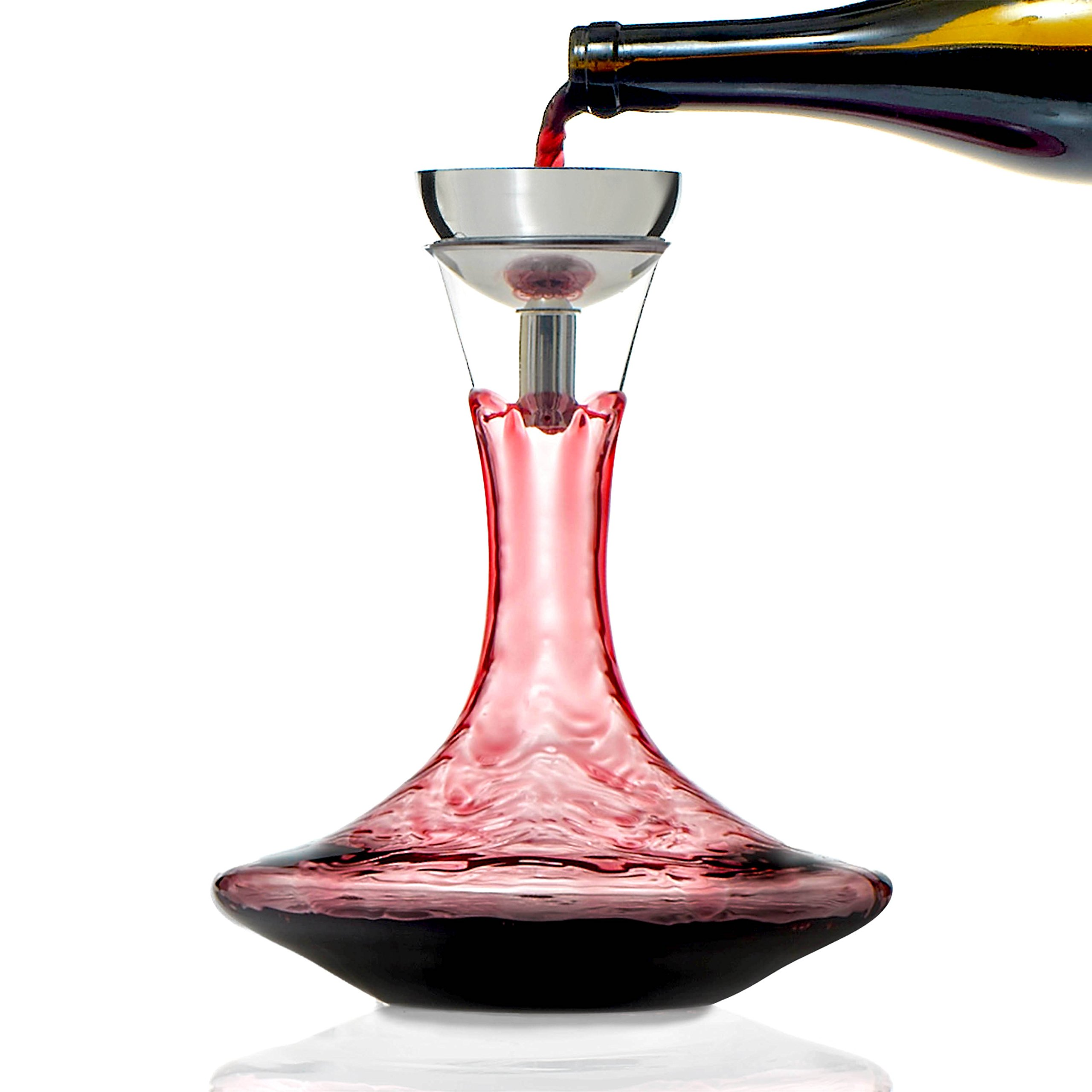 Wine Enthusiast Lead-Free Crystal Vivid Wine Decanter & Aerating Funnel Set (4 Piece)