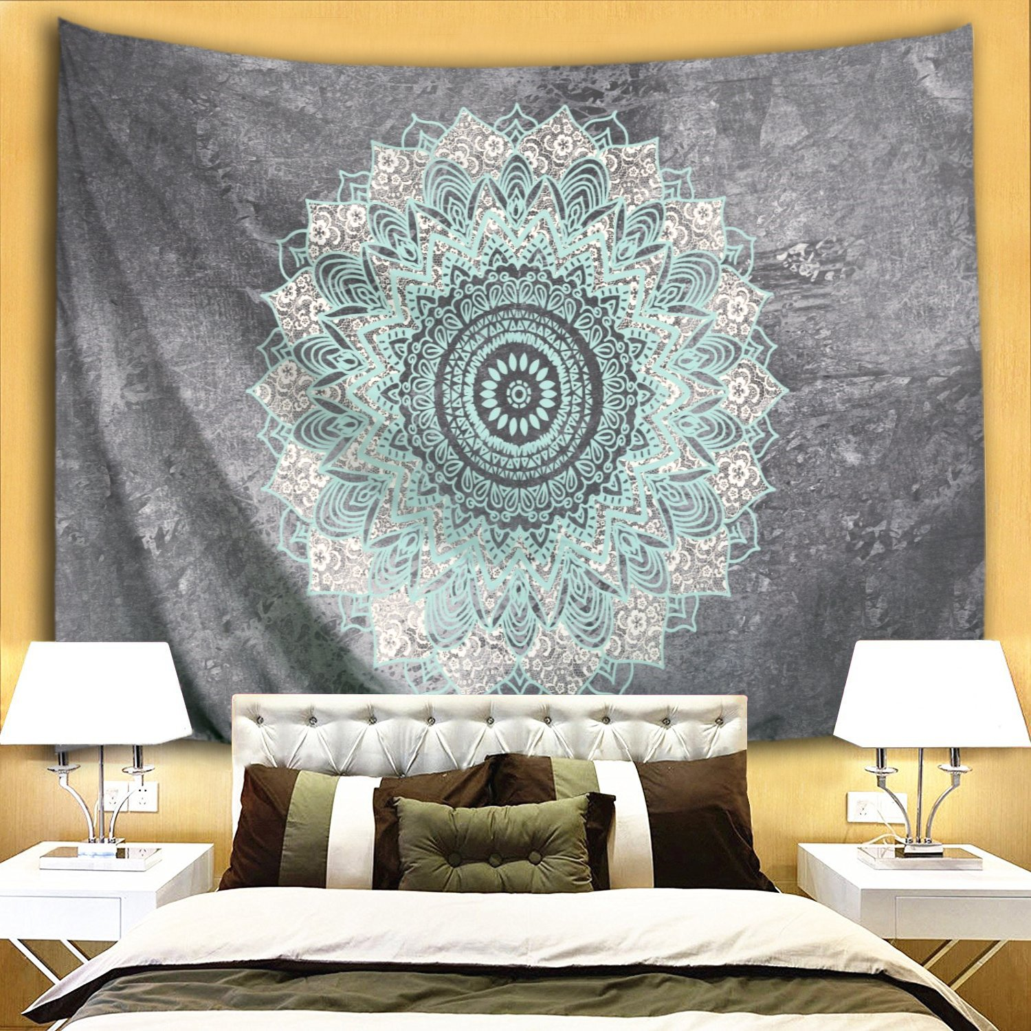 153x103cm Colorful Star Blue Gray Mandala Design Wall Hanging Tapestry Polyester Fabric Wall Blanket Decorations for Bedroom Dorm Living Room 60 W x 40 L
