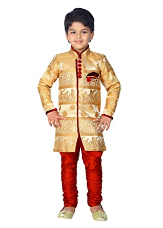 d967e8054 Amazon.com: ahhaaaa Kids Ethnic Indian Festive and Party Wear Sherwani and  Breeches Set for Boys: Clothing