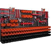 Systeemrek XXL, 172 x 78 cm, wandrek, stapelboxen, gereedschapswand, gereedschapshouder, opbergkast, kunststofdoos, rood…