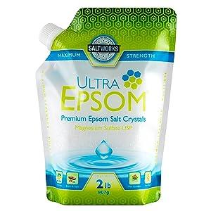 SaltWorks Ultra Premium Epsom Salt, Medium, 2 Pound