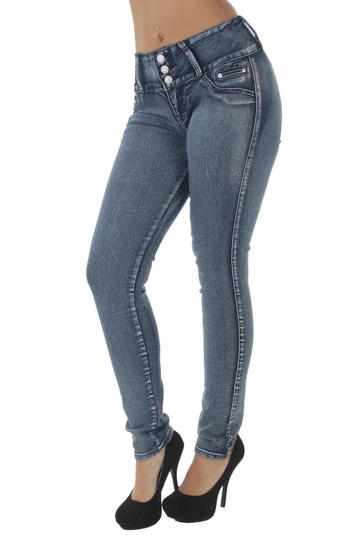 Style E241 – Colombian Design, Mid Waist, Butt Lift, Skinny Jeans in M. Blue Size 0