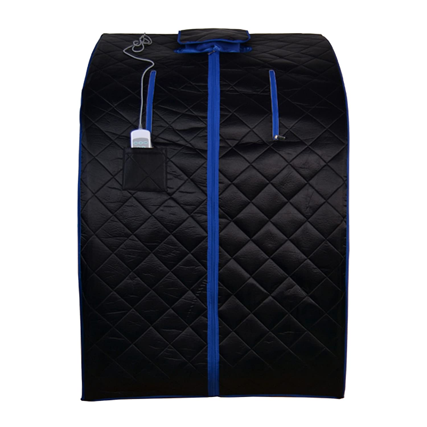 ALEKO PIN15BKBL Personal Folding Portable Home Infrared Sauna with Folding Chair and Foot Pad for Relaxation and Weight Loss 41 x 31 x 33 Inches Black with Blue Trim