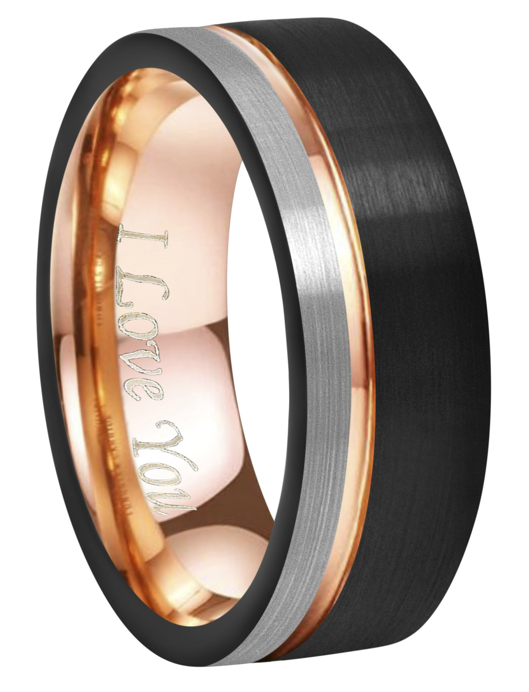 Crownal 6mm/8mm Tungsten Carbide Wedding Rings Men Women Rose Gold Line Ring Black and Silver Brushed Engraved ''I Love You'' Comfort Fit Size 4 To 16 (8mm,11.5)