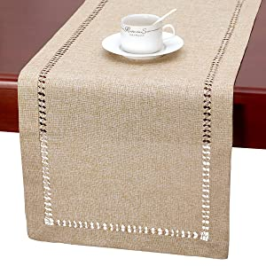 Grelucgo Handmade Hemstitch Beige Table Runner Or Dresser Scarf, Rectangular 14 by 36 Inch