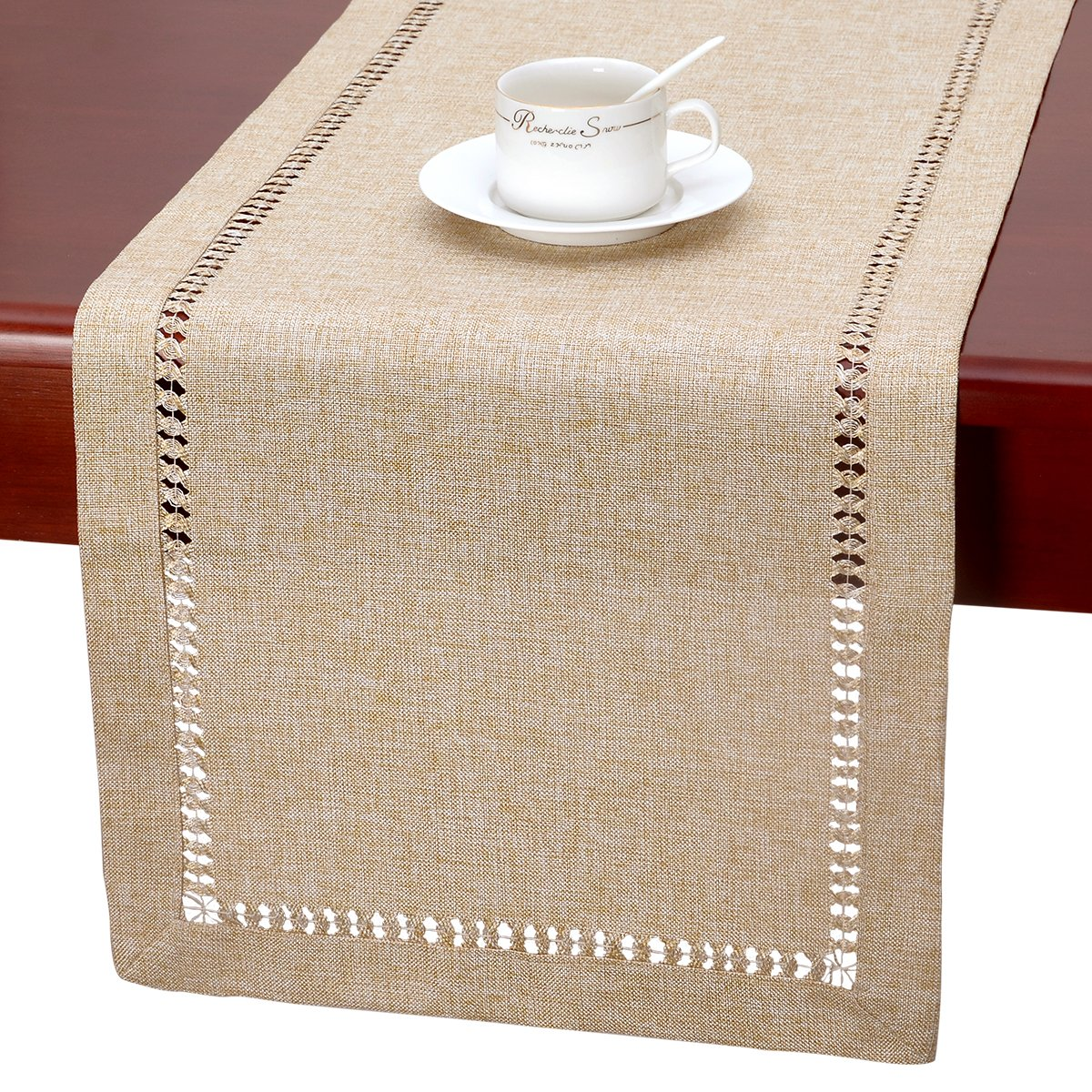 Grelucgo Handmade Hemstitch Beige Table Runner Or Dresser Scarf, Rectangular 14 by 120 Inch