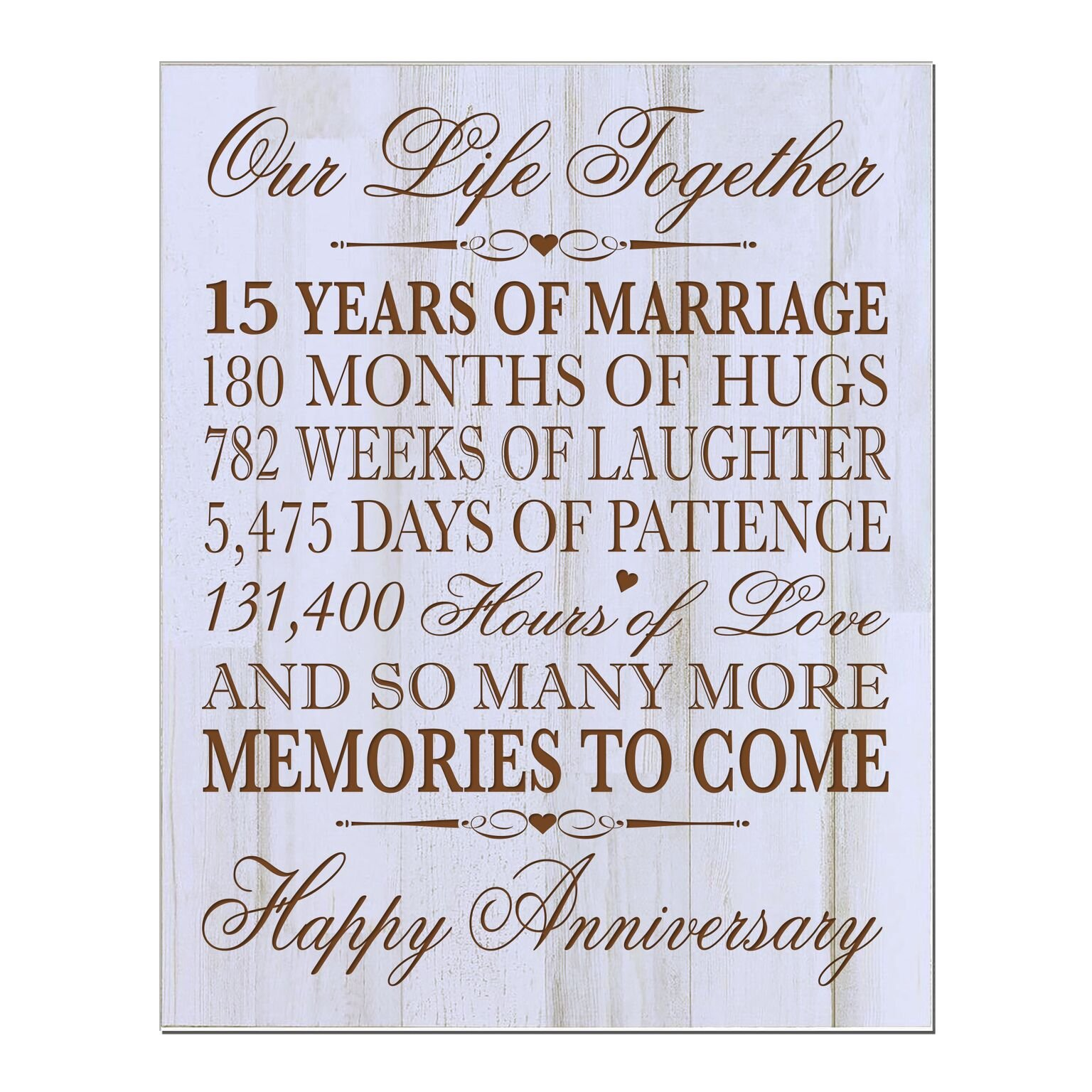 LifeSong Milestones 15th Wedding for Couple,Custom 15th for Her,15th Wedding for Him Special Dates to Remember (Distressed White) by LifeSong Milestones