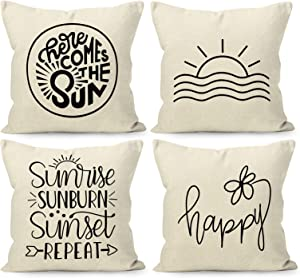 YUEMAYLY Beach Summer Sun Sunrise Sunset Linen Throw Pillow Covers 18 x 18 Inch Set of 4, Summer Beach Lover Gifts for Home Room Bed Sofa Beach House Decorations Decor