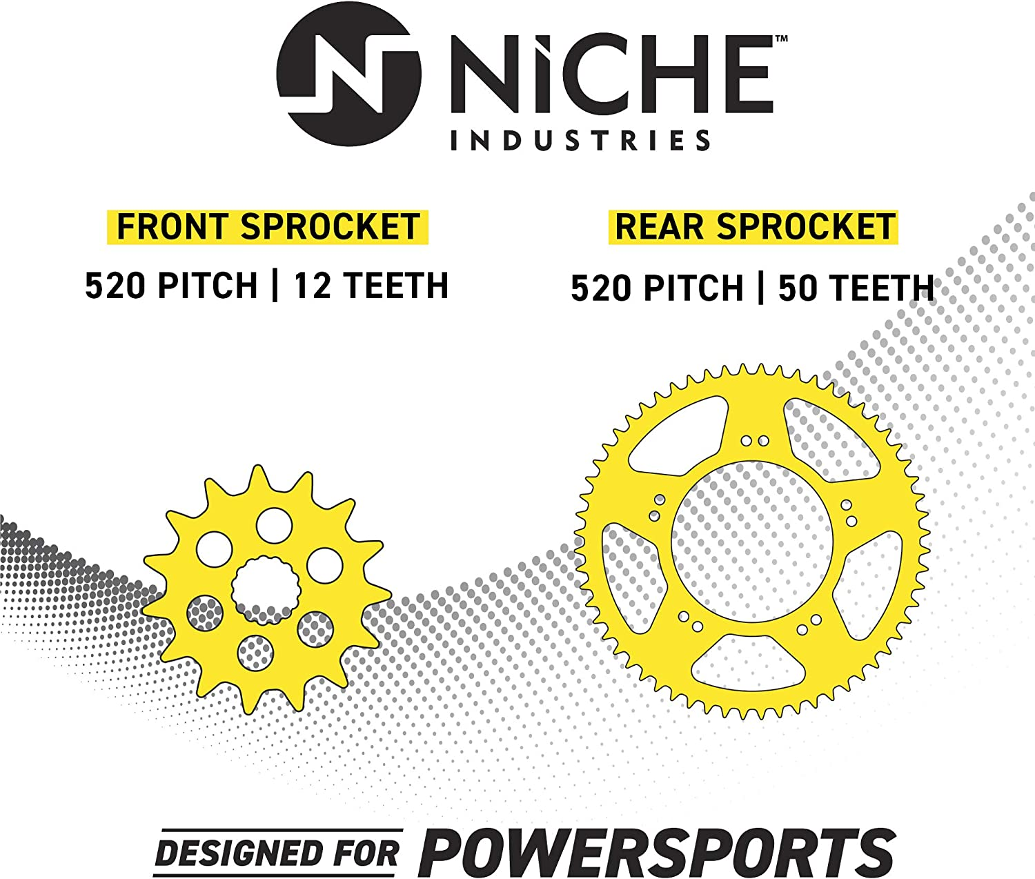 NICHE Drive Sprocket Chain Combo for Kawasaki KX125 Front 12 Rear 47 Tooth 520V O-Ring 112 Links