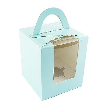 10x cajas individuales para cupcakes en color azul